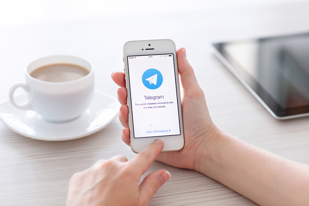 Simferopol, Russia - June 22, 2014: Telegram is free messenger from Pavel Durov for smartphones. Messenger allows you to exchange text messages and files.